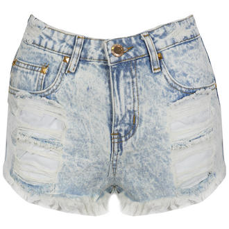 View Item Distressed Bleach Wash Denim Shorts